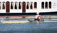 """Henley on Thames, United Kingdom, 7th July 2018, Saturday, View, SUI W1X, Jeannine GMELIN,  during, her, semi final race,  """"Fourth day"""", of the annual,  """"Henley Royal Regatta"""", Henley Reach, River Thames, Thames Valley, England, © Peter SPURRIER,"""