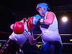 Sinead Dempsey (Blue) and Niamh Murtagh (Red) who took part in the white collar boxing in Ardee parish centre. Photo:Colin Bell/pressphotos.ie