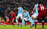 Liverpool's Mohamed Salah pokes an effort just wide<br /> <br /> Photographer Alex Dodd/CameraSport<br /> <br /> The Premier League - Liverpool v Manchester City - Sunday 14th January 2018 - Anfield - Liverpool<br /> <br /> World Copyright &copy; 2018 CameraSport. All rights reserved. 43 Linden Ave. Countesthorpe. Leicester. England. LE8 5PG - Tel: +44 (0) 116 277 4147 - admin@camerasport.com - www.camerasport.com