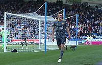 Leicester City's Jamie Vardy celebrates scoring celebrates scoring his side's second goal <br /> <br /> Photographer Stephen White/CameraSport<br /> <br /> The Premier League - Huddersfield Town v Leicester City - Saturday 6th April 2019 - John Smith's Stadium - Huddersfield<br /> <br /> World Copyright © 2019 CameraSport. All rights reserved. 43 Linden Ave. Countesthorpe. Leicester. England. LE8 5PG - Tel: +44 (0) 116 277 4147 - admin@camerasport.com - www.camerasport.com