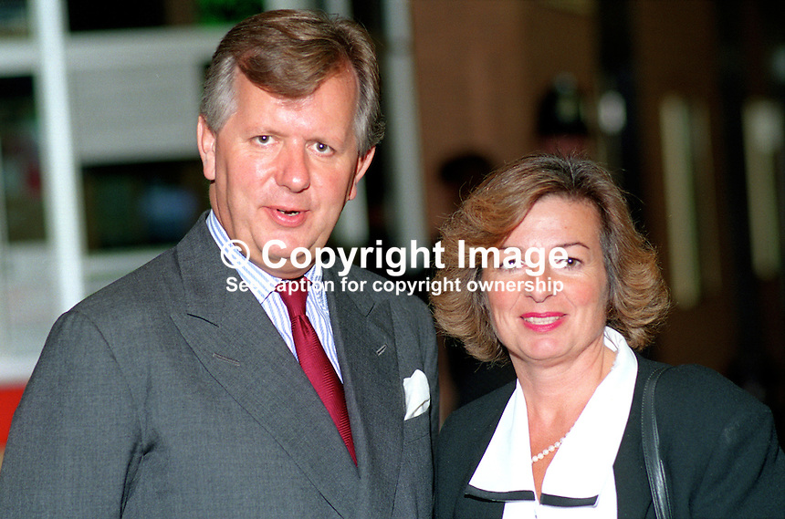 Steven Norris, MP, politician, Conservative Party, UK, and wife, Vicky, at annual conference, Bournemouth, October, 1990. 19901050SN+VN.<br /> <br /> Copyright Image from Victor Patterson, 54 Dorchester Park, <br /> Belfast, UK, BT9 6RJ<br /> <br /> t1: +44 28 9066 1296 (from Rep of Ireland 048 9066 1296)<br /> t2: +44 28 9002 2446 (from Rep of Ireland 048 9002 2446)<br /> m: +44 7802 353836<br /> <br /> e1: victorpatterson@me.com<br /> e2: victorpatterson@gmail.com<br /> <br /> www.victorpatterson.com<br /> <br /> Please see my Terms and Conditions of Use at www.victorpatterson.com. It is IMPORTANT that you familiarise yourself with them.<br /> <br /> Images used on the Internet must be visibly watermarked i.e. &copy; Victor Patterson within the body of the image and copyright metadata must not be deleted. Images used on the Internet have a size restriction of 4kbs and will be chargeable at current NUJ rates unless agreed otherwise.<br /> <br /> This image is only available for the use of the download recipient i.e. television station, newspaper, magazine, book publisher, etc, and must not be passed on to any third party. It is also downloaded on condition that each and every usage is notified within 7 days to victorpatterson@me.com<br /> <br /> The right of Victor Patterson to be identified as the author is asserted in accordance with The Copyright Designs And Patents Act (1988).