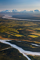 Aerial of the agricultural plots in Delta Junction, Tanana river and the Alaska range mountains, interior, Alaska.