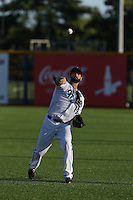 Stephen Dezzi (19) of the Hillsboro Hops throws before a game against the Boise Hawks at Ron Tonkin Field on August 21, 2015 in Hillsboro, Oregon. Boise defeated Hillsboro, 7-1. (Larry Goren/Four Seam Images)