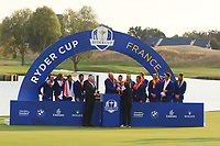The French Sports minister presents the Ryder Cup to Team Captain Thomas Bjorn for winning the 2018 Ryder Cup at Le Golf National, Ile-de-France, France. 30/09/2018.<br /> Picture Thos Caffrey / Golffile.ie<br /> <br /> All photo usage must carry mandatory copyright credit (© Golffile | Thos Caffrey)