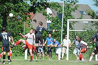 VOETBAL: SINT NICOLAASGA: Sportpark v.v. Renado, 27-05-2012, Nacompetitie Zondag 3e/4e klasse, Renado 1 - SC Stiens 1, Eindstand 2-2, in de slotminuten drukte voor de goal van SC Stiens, Harmen Visser (#14 SC Stiens), Piet van der Wey (#12 Renado), Thijs Postma (#4 Renado), Selwin de Vries (#3 SC Stiens), Helder Correia Oliveira (#2 Renado), ©foto Martin de Jong