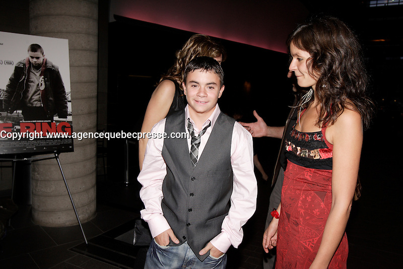 Montreal (Qc) CANADA, October 18 2007-<br /> Anais Barbeau-Lavalette, filmmaker (R) ,Maxime Desjardins-Tremblay (L), main <br /> actor<br /> in  Le Ring (The Ring). Quebec movie about a teenage boxer from a poor Montreal family, the movie is presented at the 2008 Berlin Film Festival.<br /> <br /> photo : Pierre Roussel (c)  Images Distribution