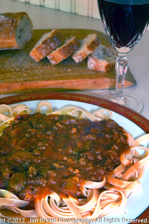 Linguine with Bolognese Sauce, red wine.©2012. Jim Bryant Photo. All Rights Reserved.