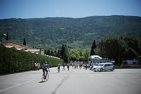 the Orica-GreenEDGE teambus is the only regular teambus at the start as the stage is so short (134km, mainly downhill) the teambusses  don't have the time to get to the finish town of Lugano<br /> <br /> stage 17: Tirano - Lugano (SUI) (134km)<br /> 2015 Giro d'Italia