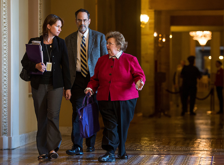 UNITED STATES - MAY 14: Sen. Barbara Mikulski, D-Md., walks to the Senate floor following the weekly policy luncheons on Tuesday, May 14, 2013 . (Photo By Bill Clark/CQ Roll Call)