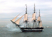 Boston, MA - July 21, 1997 - The USS Constitution the worlds oldest commissioned war ship fires its starboard guns while underway in Massachusetts Bay, MA.  Commissioned on October 21st, 1797, Constitution set sail unassisted for the first time in 116 years.  Constitution will celebrates her 200th birthday on October 21st of this year after completing a 40 month overhaul. .Credit: John E. Gay - U.S. Navy via CNP