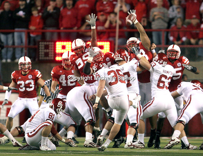 Nebraska's Ndamukong Suh blocks a first quarter field goal attempt by Oklahoma's Tress Way during Saturday's game at Memorial Stadium in Lincoln, NE. Nebraska defeated No. 20 Oklahoma 10-3.