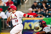 Nick Derba (18) of the Springfield Cardinals follows through his swing during a game against the Arkansas Travelers at Hammons Field on May 5, 2012 in Springfield, Missouri. (David Welker/Four Seam Images)