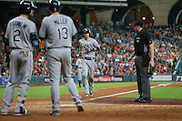 HOUSTON, TX - AUGUST 28:  Matt Duffy #5 of the Tampa Bay Rays crosses home plate after hitting a home run against the Houston Astros during the game at Minute Maid Park on Sunday, August 28, 2016 in Houston, Texas. Photo by Brad Mangin