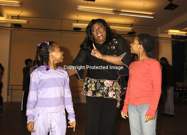 """Carol Dennis and Kids..at a press rehearsal of the new musical """"The Color Purple"""" ..on October 12, 2005 at the New 42nd Street Studios. ..Photo by Robin Platzer, Twin Images"""