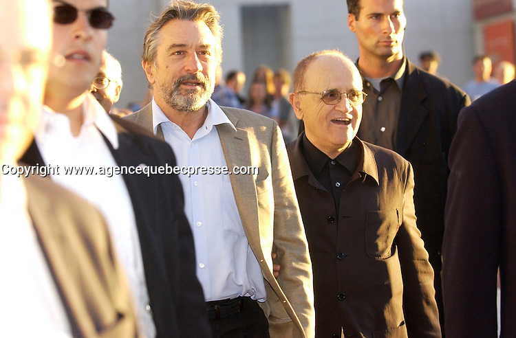 August 27 . 2002, Montreal, Quebec, Canada; <br /> <br /> <br /> Robert De Niro, Actor L) and<br /> Serge Losique, president, World Film Festival (R)<br /> arrive at the screening of Caton Jones movie ; CITY BY THE SEA, presented in competition at the 26th Montreal World Film Festival, August 27th 2002<br /> <br /> <br /> <br /> <br /> <br /> <br /> (Mandatory Credit: Photo by Sevy - Images Distribution (&copy;) Copyright 2002 by Sevy<br /> <br /> NOTE :  D-1 H original JPEG, saved as Adobe 1998 RGB.<br />  Uncompressed and uncropped original  size file available on request.