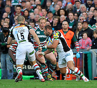 Leicester, England. Ross Chisholm of Harlequins in action . during the Aviva Premiership match between Leicester Tigers and Harlequins at Welford Road on September 22, 2012 in Leicester, England.