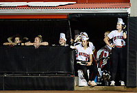 Sun Prairie's Sabrina Reuter (2) and Bailee Hadley (9) look out of the dugout during the final inning Saturday night. Oshkosh North wins 4-2 in nine innings to win the championship game of the 2019 Division 1 Wisconsin WIAA girls state high school softball tournament on Saturday, June 8, at Goodman Diamond in Madison, Wisconsin