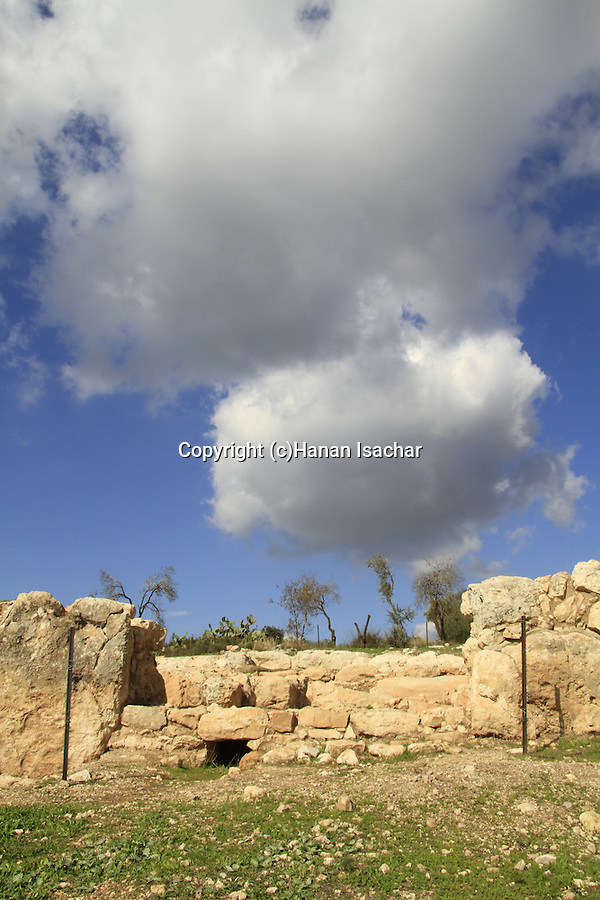 Israel, Shephelah, the southern gate of Khirbet Qeiyafa, one of the two gates of the Iron Age settlement, from the 11th century BC