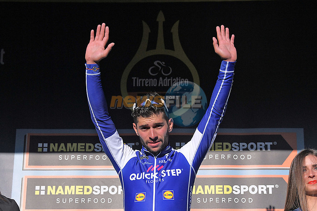Fernando Gaviria (COL) Quick-Step Floors wins Stage 6 of the 2017 Tirreno Adriatico running 168km from Ascoli Piceno to Civitanova Marche, Italy. 13th March 2017.<br /> Picture: La Presse/Gian Mattia D'Alberto | Cyclefile<br /> <br /> <br /> All photos usage must carry mandatory copyright credit (&copy; Cyclefile | La Presse)
