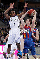 Real Madrid's Dontaye Draper (l) and FC Barcelona Regal's Marcelinho Huertas during Spanish Basketball King's Cup match.February 07,2013. (ALTERPHOTOS/Acero) /Nortephoto