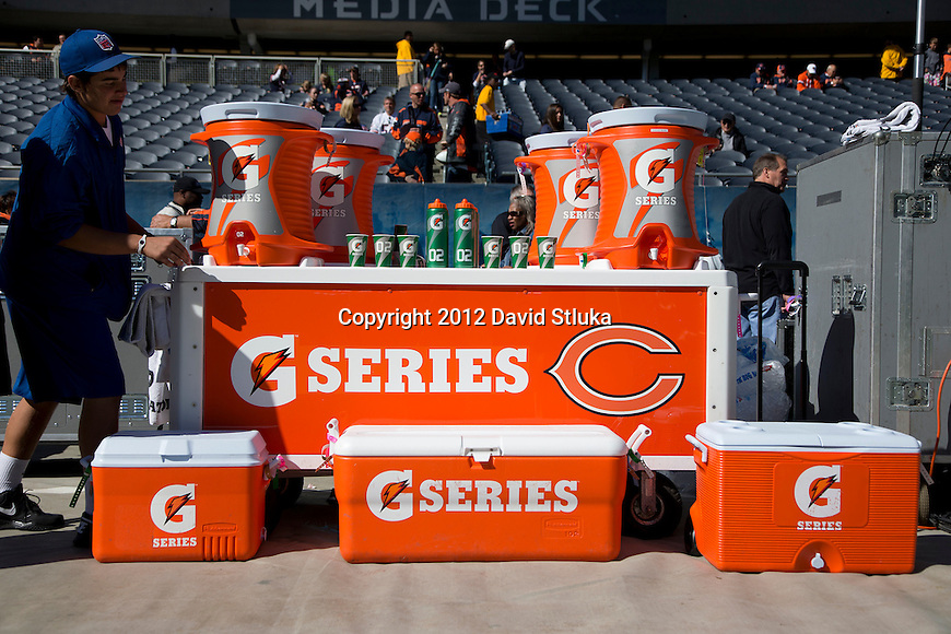The Gatorade G-Series station is seen on the Chicago Bears bench before a Week 3 NFL football game against the St. Louis Rams Sunday, September 23, 2012 in Chicago. The Bears won 23-6. (AP Photo/David Stluka)