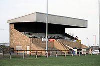 The main stand at Ashington FC Football Ground, Portland Park, Ashington, Northumberland, pictured on 14th April 1995