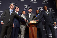 The 2013 Heisman Trophy finalists pose for a photo at the New York Marriott Marquis before the announcement of the winner. (L-R) Jordan Lynch, Johnny Manziel, Tre Mason, AJ McCarron, Andre Williams, Jameis Winston.  (Photo by Don Baxter/Media Images International)