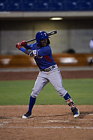 AZL Rangers Osleivis Basabe (2) at bat during an Arizona League game against the AZL Brewers Blue on July 11, 2019 at American Family Fields of Phoenix in Phoenix, Arizona. The AZL Rangers defeated the AZL Brewers Blue 5-2. (Zachary Lucy/Four Seam Images)