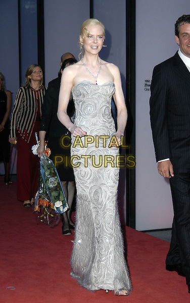 NICOLE KIDMAN.Red carpet arrivals at the 61st Venice Film Festival.September 8th, 2004.full length, diamond,  grey, gray, swirl, floral print dress.www.capitalpictures.com.sales@capitalpictures.com.©Capital Pictures