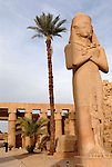 Colossus of Ramses II with his daughter Bent'anta at his feet is made from sandstone and is dated to 1279 BC-1213 BC.The statue stands in the Great Court in front of the 2nd Pylon in the Precinct of Amun at Karnak. Karnak is part of the ancient city of Thebes ( built in and around modern day Luxor).The building of the Temple complex at Karnak began in the reign of the Pharaoh Senusret I who ruled Egypt from 1971 -1926 BC. Approximately 30 Pharaohs contributed to the building of the complex and in so doing made it the largest ancient religious site in the world. The ancient name for Karnak is Ipet-isut (Most select of places).