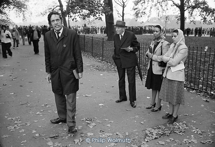 Christian preacher, Speakers Corner, Hyde Park, London; October 1978.