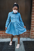 """New York, New York City in the time of Coronavirus. <br /> """"The weather was so nice they decided to dress springy for our essential run to Target,"""" mom told me when I commented how nicely dressed up her children looked and wondered if they were going somewhere special. Dressing up seems a thing of the past during these home-based days with fashion more likely lends itself to sweat pants.  <br /> """"They're being homeschooled for the rest of the year and not loving it, they miss their peers. Our shopping runs feel like a special occasion."""" Of course I had to ask about the green hair, a pandemic lock down look? """"No he did it for it the holidays, it was supposed to be blue!"""" A cool mom for sure but it's the obvious love and closeness she cultivated between this bother and sister that became most apparent when I asked to photograph them. """"I do try to raise them with a closeness and I'm glad they are growing well together."""" Well done. Happy mothers day to you and your family!"""