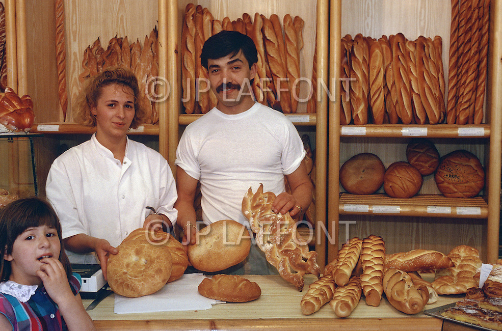 May 1989 --- Traditional French bakery near Boulevard Oddo in Marseille. --- Image by © JP Laffont