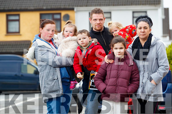 Emma Christie, Jade Christie, Andrew Crashaw, Isaac Christie, Ruby Griffiths, Keeley Coffey and Nora Coffey who were left homeless after a house fire in Fountain Court on Thursday.