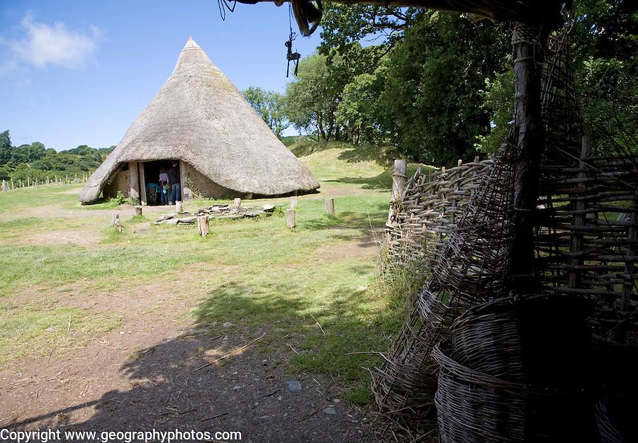 Castell Henllys iron age celtic village houses Pembrokeshire Wales