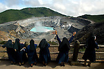 COSTA RICA - OCTOBER 17: A group of nuns stop to admire the volcano lake on October 17, 2003 in Costa Rica (Photo By Donald Miralle)