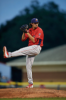 Williamsport Crosscutters relief pitcher Connor Seabold (45) delivers a pitch during a game against the Batavia Muckdogs on August 3, 2017 at Dwyer Stadium in Batavia, New York.  Williamsport defeated Batavia 2-1.  (Mike Janes/Four Seam Images)