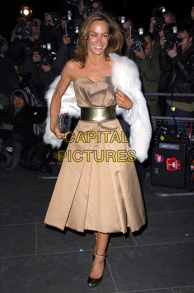 "TARA PALMER TOMKINSON.VIP private view of ""Vanity Fair Portraits"" sponsored by Burberry, National Portrait Gallery, London, England. .February 11th, 2008.full length gold belt beige brown dress white fur jacket black clutch bag purse .CAP/CAS.©Bob Cass/Capital Pictures."