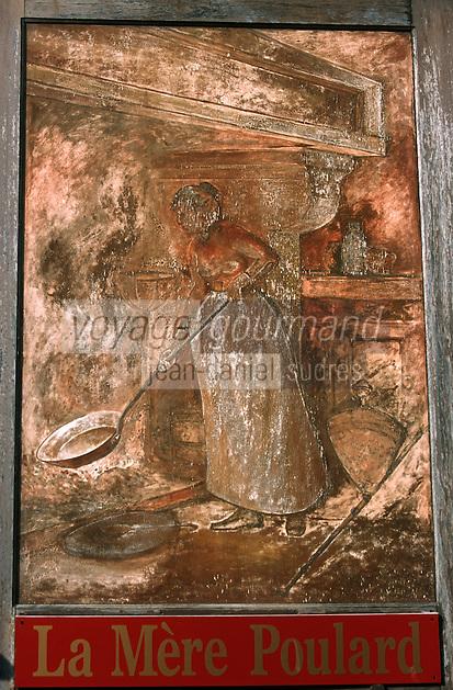 Europe/France/Basse-Normandie/50/Manche/Mont Saint Michel: L'auberge de la mère Poulard détail de l'enseigne représentant la préparation d'une omelette par une omelettière