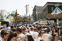 "The ""Boat"" makes its way down the street at the annual Feast of Our Lady of Mount Carmel and the Dancing of the Giglio in Brooklyn, NY, on July 11, 2004."