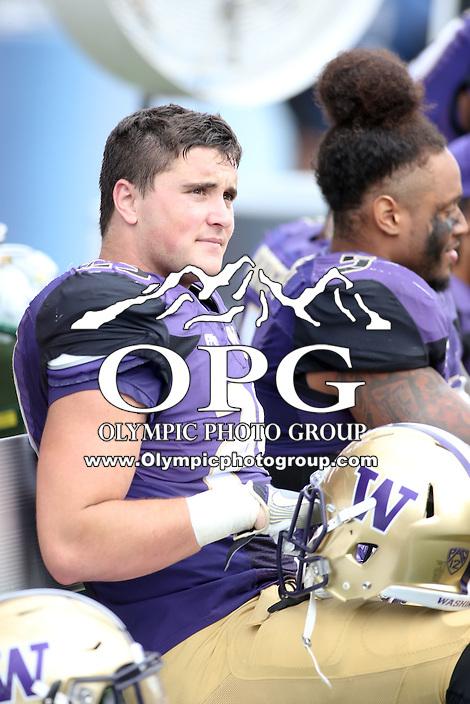 03 September 2016: Washington's Connor O'Brien against Rutgers.  Washington defeated Rutgers 48-13 at the University of Washington in Seattle, WA.