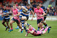 Shuan Knight of Bath Rugby takes on the Exeter Chiefs defence. Anglo-Welsh Cup Final, between Bath Rugby and Exeter Chiefs on March 30, 2018 at Kingsholm Stadium in Gloucester, England. Photo by: Matt Impey / Wired Photos for Onside Images