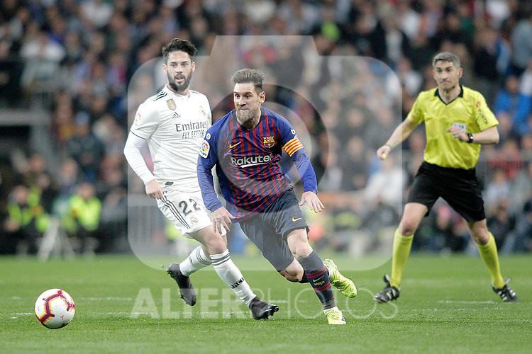 Real Madrid CF's Isco Alarcon and FC Barcelona's Leo Messi during La Liga match. March 02,2019. (ALTERPHOTOS/Alconada)