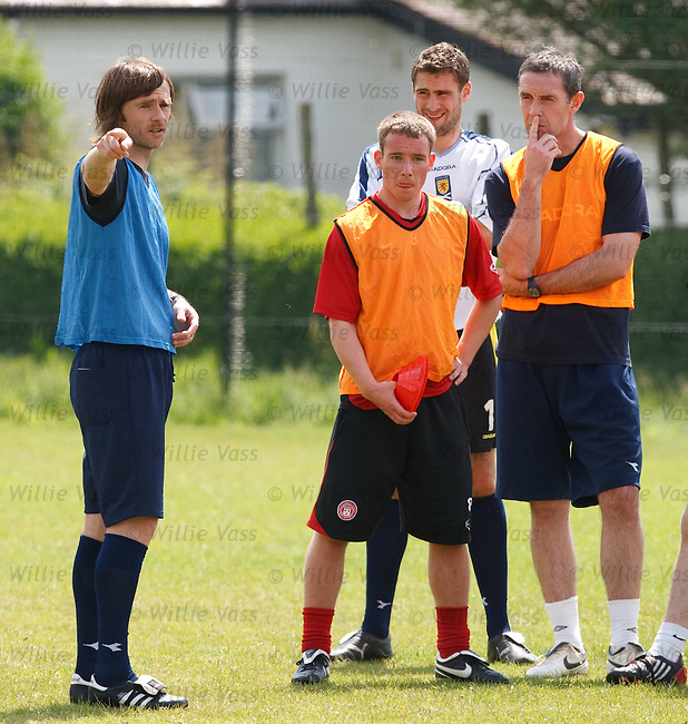 Graham Alexander takes charge of a coaching session and inforns the other candidates of their tactics