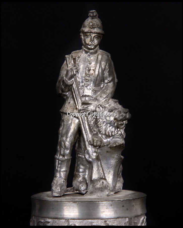BNPS.co.uk (01202 558833)<br /> Pic: Ratisbons/BNPS<br /> <br /> Soldier on the hinged lid.<br /> <br /> An ornate beer stein that belonged to one of Donald Trump's German ancestor is being auctioned - suggesting that the famously teetotal Presidents relatives clearly liked a beer.<br /> <br /> The stein is inscribed to 'Infantryman Trump' as well as listing all the other members of his volunteer regiment in the Imperial army just prior to World War One.<br /> <br /> The Trump family was based in Kallstadt which is about 25 miles North of Landau, where the Regiment was based.
