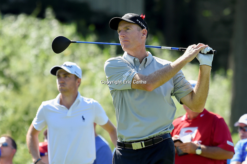 August 5, 2016: Jim Furyk plays his shot from the 18th tee during day two of the PGA Travelers Championship held at TPC River Highlands in Cromwell CT. Eric Canha/CSM
