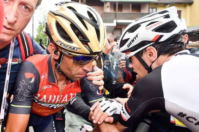 Vincenzo Nibali (ITA) Bahrain-Merida and Tom Dumoulin (NED) Team Sunweb greet each other at the end of Stage 20 of the 100th edition of the Giro d'Italia 2017, running 190km from Pordenone to Asiago, Italy. 27th May 2017.<br /> Picture: LaPresse/Massimo Paolone | Cyclefile<br /> <br /> <br /> All photos usage must carry mandatory copyright credit (&copy; Cyclefile | LaPresse/Massimo Paolone)