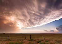 Supercell thunderstorm at sunset in Grady, NM, June 12, 2012