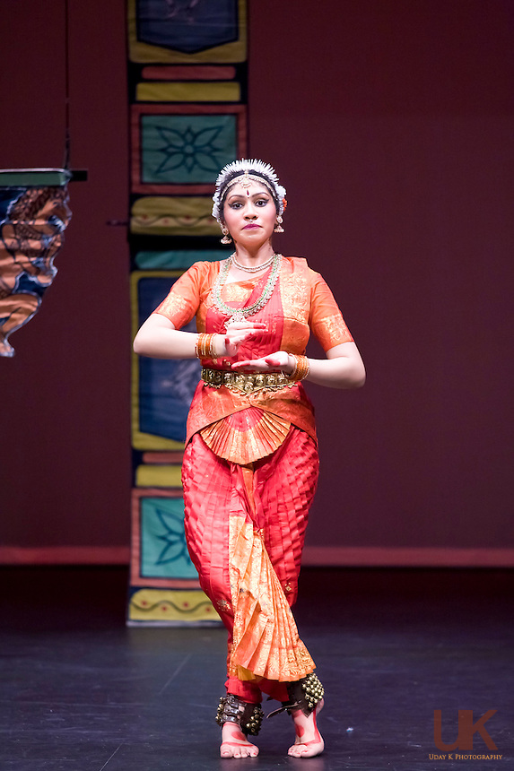 Pryanka performing her Arangetram at the Eisemann Center, Texas