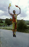 The Fool or Jester, the Whitechurch Morris Dancers, Wingrave Buckinghamshire, dancing before the church rush bearing ceremony. 1990s.